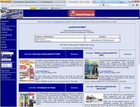 Design von Laufschuhkauf.de 2008